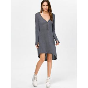 Asymmetrical Long Sleeve Deep V Midi Dress - DEEP GRAY M
