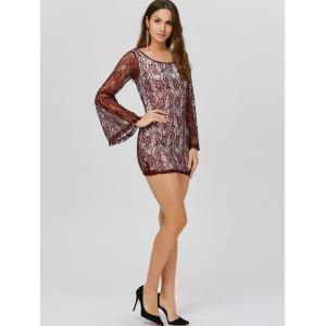 Backless Mini Lace Long Sleeve Dress - WINE RED XL