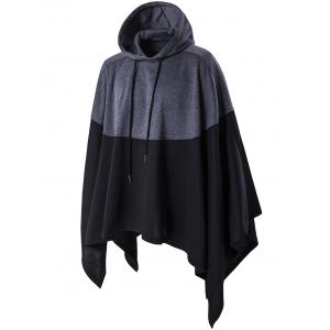 Irregular Cutting Hooded Color Block Splicing Cloak Style Hoodie - BLACK 5XL