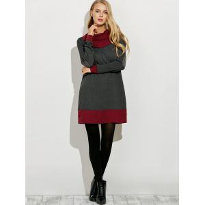Cowl Neck Color Block Mini Dress - GRAY AND RED L
