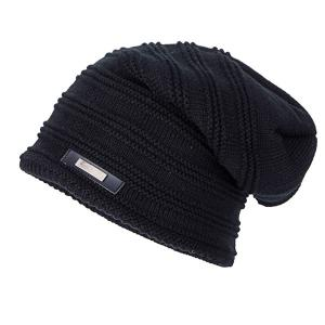 Horizontal Stripe Label Knitted Ski Hat