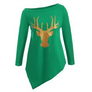 Plus Size Christmas Deer Print Asymmetric T-Shirt
