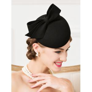 Vintage Wool Bowknot Cocktail Hat -