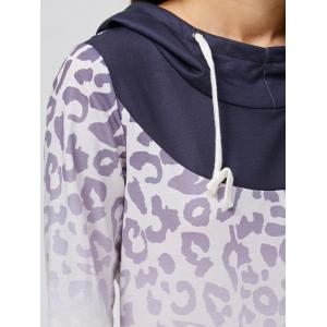 Ombre Leopard Drawstring Hoodie -