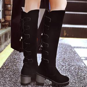 Tie Up Tassels Platform Knee High Boots -