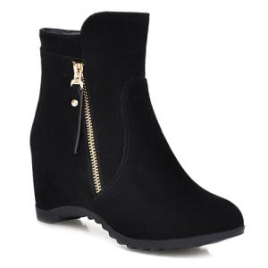 Zip Hidden Wedge Ankle Boots - Black - 38