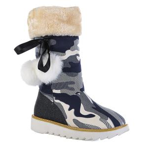 Camouflage Pattern Pompon Snow Boots -