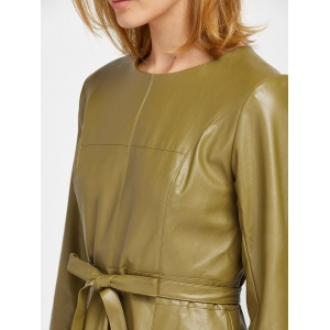 Belted Faux Leather Flare Dress -