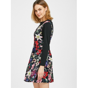 Long Sleeve Floral Printed A Line Dress -