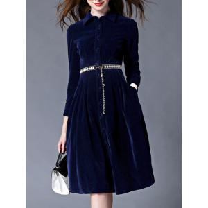 Mandarin Collar Velvet Skater Dress