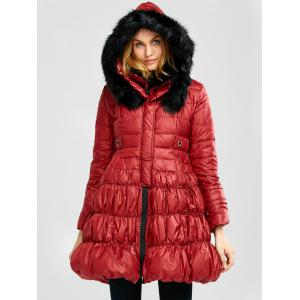 Long Skirted Down Coat With Fur Hood - Red - S