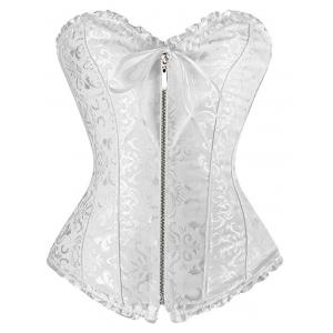 Zipper Criss Cross Underbust Bridal Corset Top - White - S