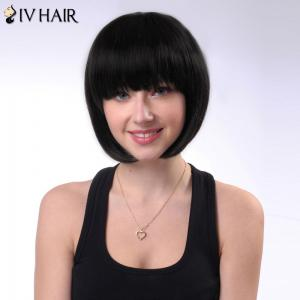 Short Shaggy Neat Bang Straight Bob Siv Human Hair Wig -