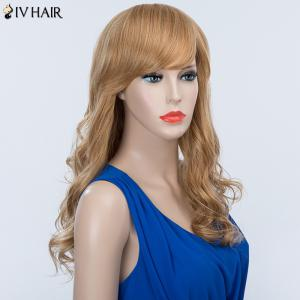 Long Wavy Oblique Bang Fluffy Siv Human Hair Wig -