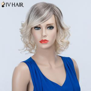 Short Curly Oblique Bang Fluffy Siv Human Hair Wig -