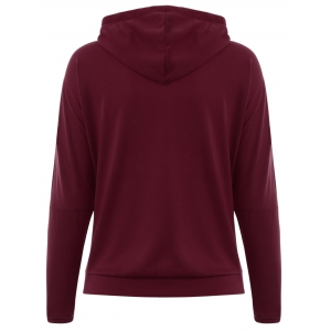 Color Block Drawstring Graphic Hoodie - WINE RED XL
