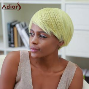 Side Bang Color Mixed Short Straight Synthetic Wig -