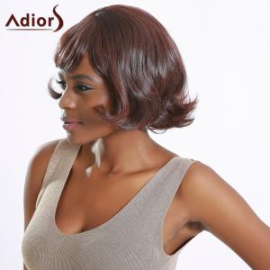 Short Fluffy Side Bang Wavy High Temperature Fiber Wig - BLACK BROWN