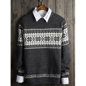 Crew Neck Snowflake Graphic Christmas Sweater