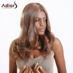 Adiors Long Middle Part Slightly Curled Synthetic Capless Wig - BLACK BROWN
