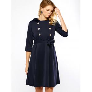 Double Breasted Belted Swing Dress -