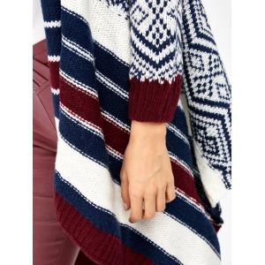 Striped Trim Knit Cardigan - COLORMIX ONE SIZE