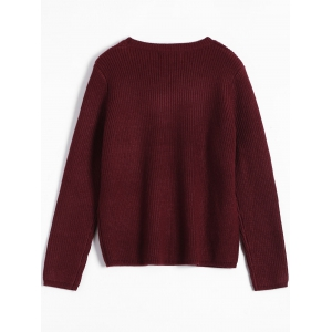 Patterned Sweater - BURGUNDY ONE SIZE