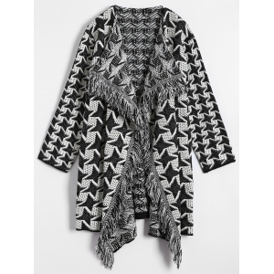Houndstooth Jacquard Drape Front Cardigan