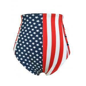 Flag Distressed Vintage Cheeky High Waisted Bikini Shorts - BLUE/RED M