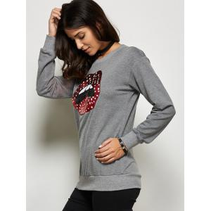 Sequined Mouth Pattern Sweatshirt -