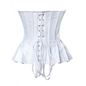 Bowknot Underbust Steel Boned Strapless Bridal Corset Top - WHITE 2XL