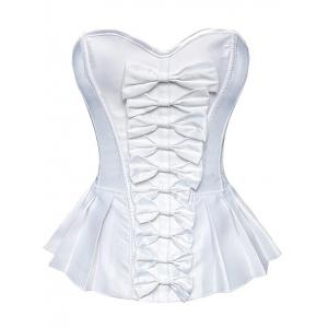 Bowknot Underbust Steel Boned Strapless Bridal Corset Top - White - Xl