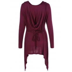 Asymmetrical Tie Back Long Sleeve Hooded T-Shirt -