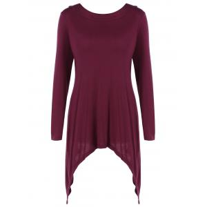 Asymmetrical Tie Back Long Sleeve Hooded T-Shirt
