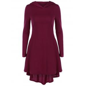 Hooded High Low Hem Dress - Dark Red - L