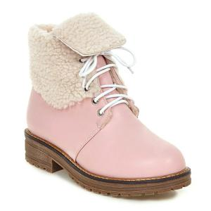 Lace Up Faux Shearling Lined Fold Over Ankle Boots - Pink - 38