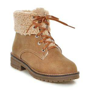 Faux Fur Trim Lace Up Ankle Boots - Light Brown - 38