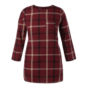 Plus Size Plaid Mini Shift Dress