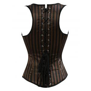 Striped Faux Leather Insert Corset -