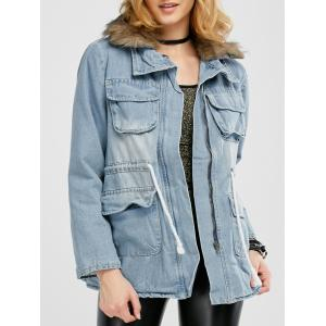 Faux Fur Denim Coat with Pockets - Denim Blue - M
