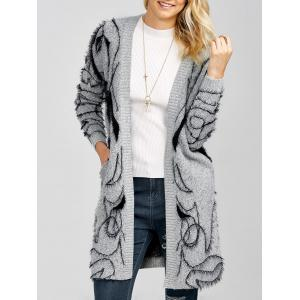 Longline Open Front Fuzzy Knit Cardigan - Gray - One Size