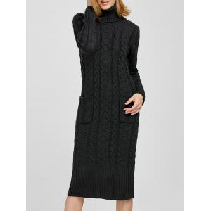 Turtleneck Maxi Long Sleeve Cable Knit Sweater Dress - Deep Gray - One Size