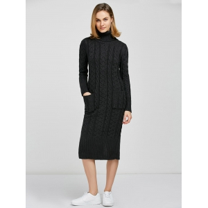 Turtleneck  Long Sleeve Cable Knit Sweater Dress - DEEP GRAY ONE SIZE