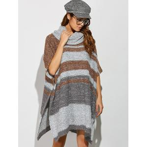 Side Slit Striped Smock Sweater - COLORMIX ONE SIZE