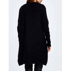 Open Front Cardigan With Collarless - BLACK ONE SIZE