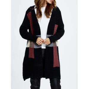 Long Sleeve Open Front Knit Cardigan with Collarless -