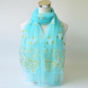 Breathable Glitter Powder Floral Pattern Lace Scarf