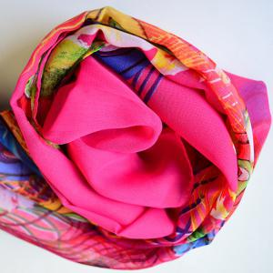 Breathable Peacock Feather and Floral Print Chiffon Scarf - DEEP PINK