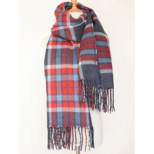 Dual Use Tartan Pattern Tassel Warm Pashmina Wrap Scarf - Cadetblue