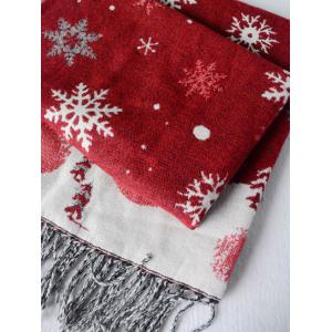 Christmas Snow Covered Landscape Tassel Warm Scarf - WINE RED